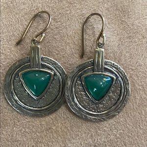 Silpada earrings silver and green